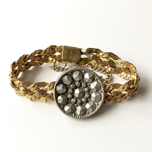 Pewter Button on Gold Filled Braided Band