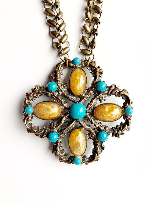 Antique Turquoise and Amber Buckle