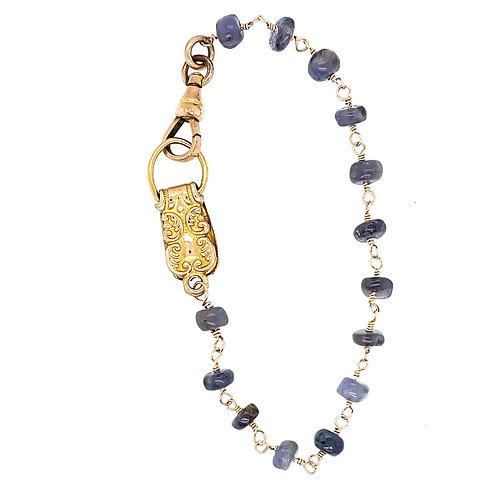 Iolite Bracelet with Victorian Era Metalwork