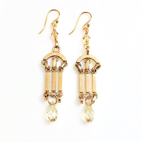 Antique Watch Fob Earrings with Swarovski Crystal
