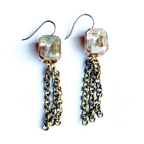 Rectangular Rhinestone Button Earrings