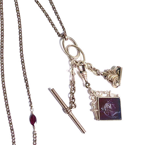 Antique Watch Fob Charm Necklace