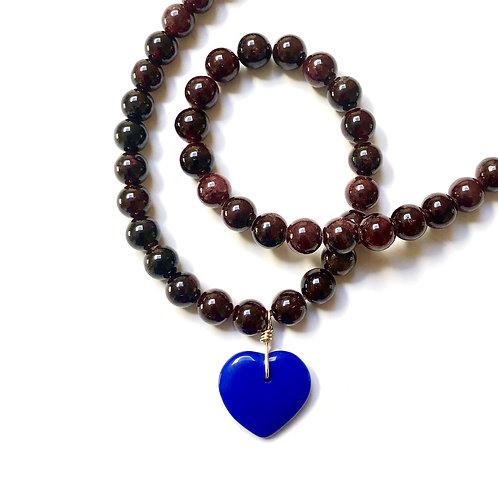 True Blue Garnet Necklace