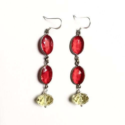 Antique Red Crystal Earrings