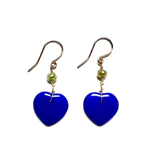 Green Pearl True Blue Earrings