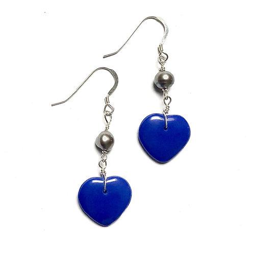 True Blue Silver Pearl Earrings
