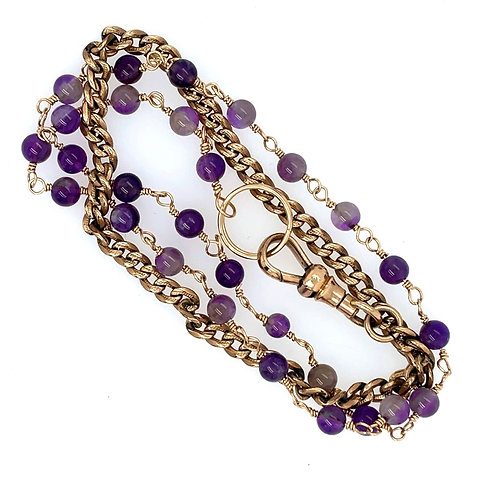 Amethyst and Antique Watch Chain Wrap Bracelet
