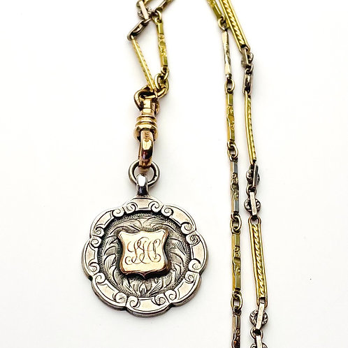 Sterling Silver Watch Fob and Chain Assemblage