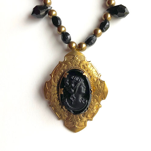 Mourning Cameo in Brass Setting