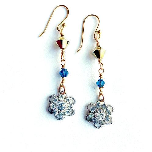 Earrings with Vintage Rhinestone Flowers