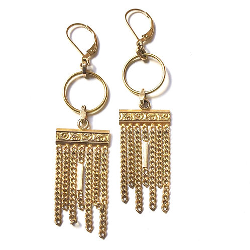 Victorian Era Watch Fob Earrings