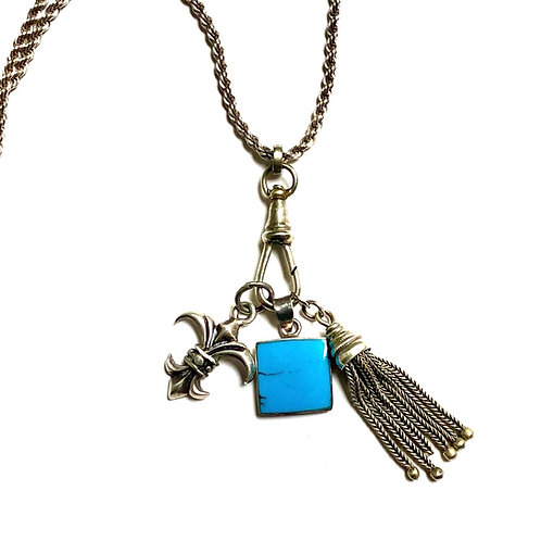 Turquoise  + Silver Charm Necklace