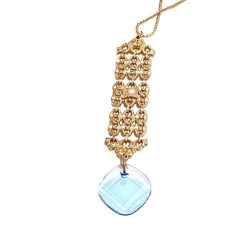 Ornate Fob with Blue Swarovski Crystal