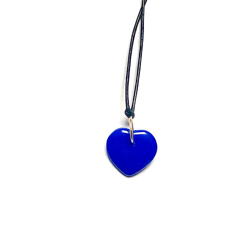 True Blue Leather Corded Charm