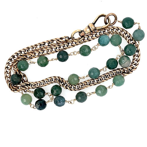 Agate and Antique Watch Chain Bracelet