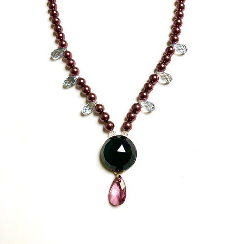 Victorian Mourning Bead with Burgundy and Ice Blue Swarovski Crystal
