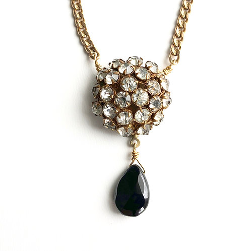 Antique rhinestone button necklace