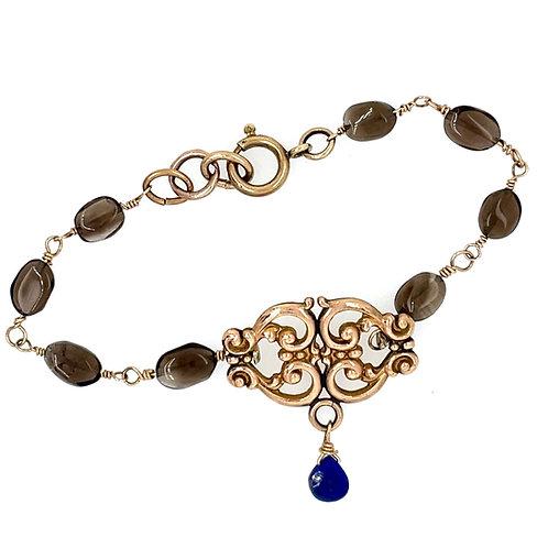 Victorian Bracelet with Smoky Topaz and Lapis Stones
