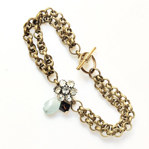 Antique Rhinestone Button Bracelet