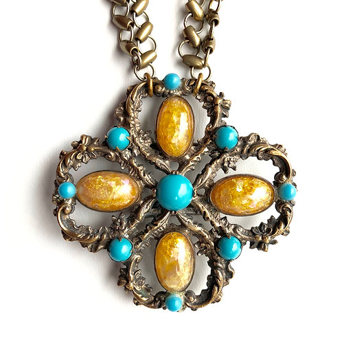Antique Turquoise and Amber Buckle wholesale