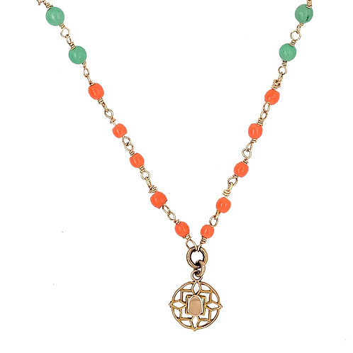 Victorian Charm  with Antique Coral and Amazonite Stones