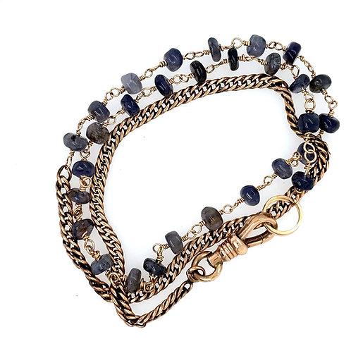 Antique Watch Chain and Iolite Wrap Bracelet