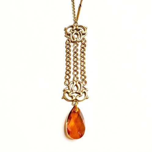 Antique Fob with Copper Colored Swarovski Crystal WHSL