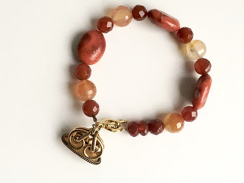 Coral and Agate Charm Bracelet