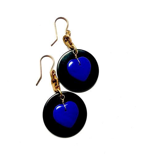 True Blue Black Disc Earrings