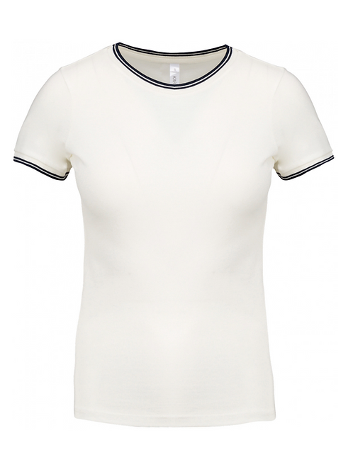 T-shirt col rond maille piquée femme