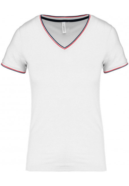T-shirt femme col V maille piquée