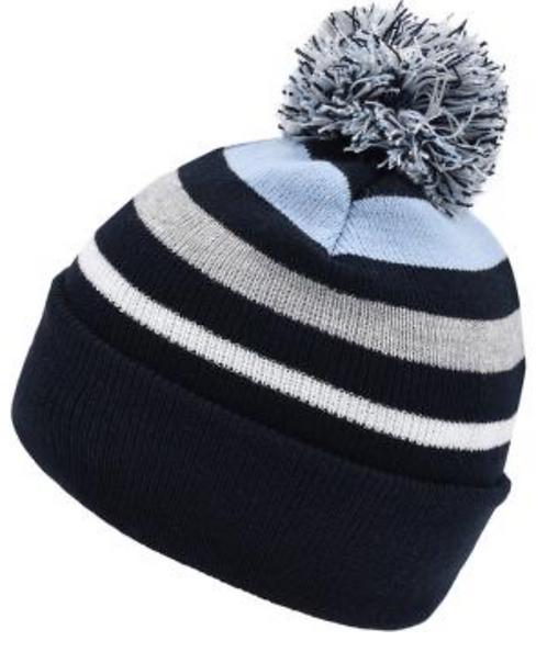 Bonnet d'hiver rayé à pompon