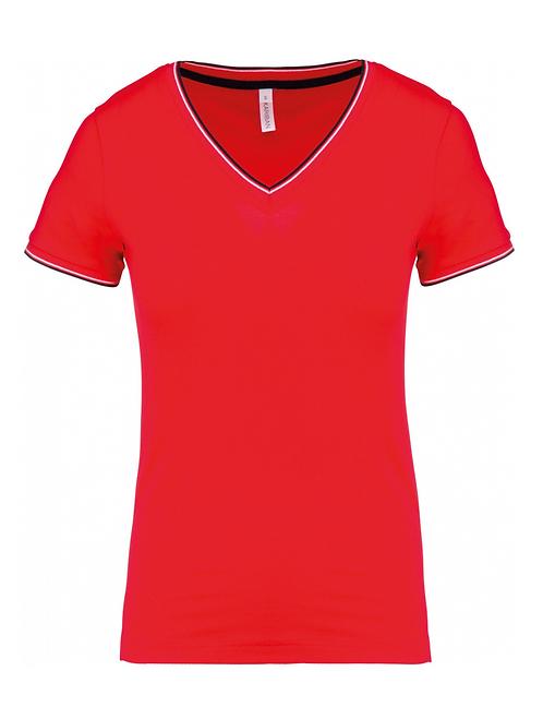 T-shirt maille piquée col V femme