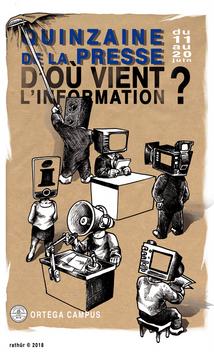 Affiche pour la quinzaine de la presse 2018 au Lycée Français de San Francisco.