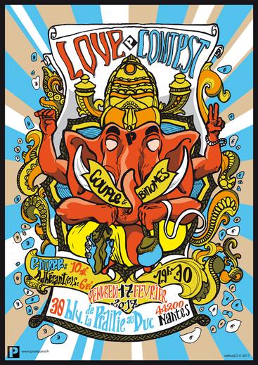 Affiche pour le Love Contest de bloc 2018 au gymnase d'escalade Pic & Paroi.