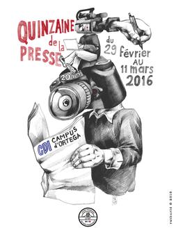 Affiche pour la quinzaine de la presse 2016 au Lycée Français de San Francisco.