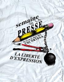 Affiche pour la semainede la presse au Lycée Français de San Francisco.