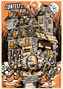 Affiche pour le halloween contest de bloc 2016 au gymnase d'ecalade Pic & Paroi.  www.picetparoi.fr