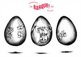 """Illustrations pour l'Ovùm 2, de la Microbrasserie La Barque ! Vingt pourcents du malt utilisé pour cette bière a été substitué par des chutes de différents pains provenant du fournil bio """"Le jour du Pain"""" (Saint-Planchers, Basse-Normandie, France). Conçue en partenariat avec Atelier Shiroï."""
