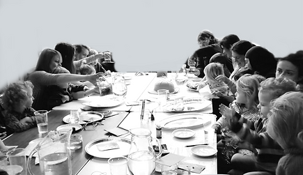 A black and white image of a toodler group doing STEM activties