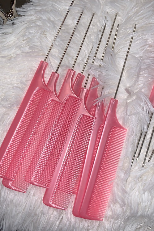 Pretty Pink Rat Tail Comb