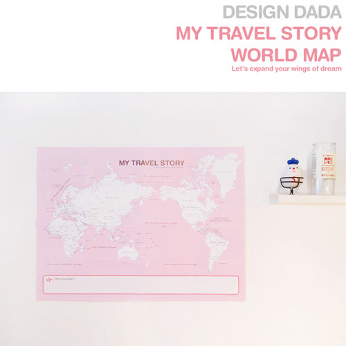 My Travel Story World Map Pink