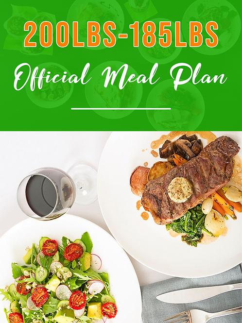 200lbs - 185lbs Meal Plan