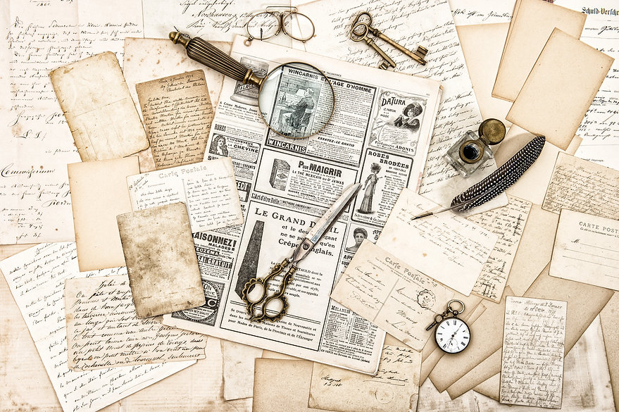 Antique office accessories, old letters