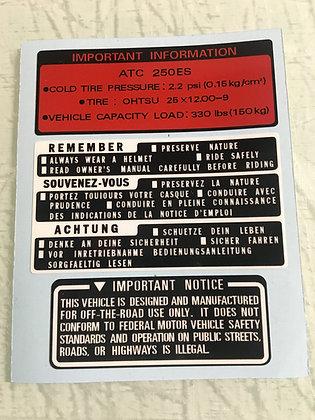 1985 Big Red Tank Warning Set