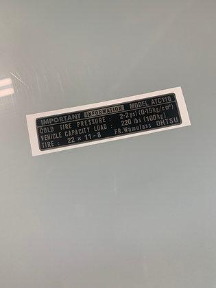 ATC110 Tire Info