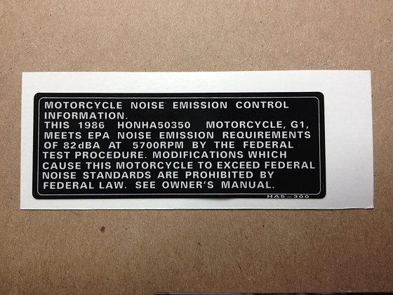 1986 ATC350X Emission Decal