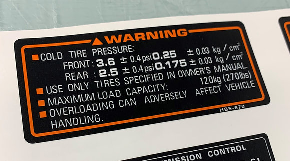 1987 Tire Pressure Decal