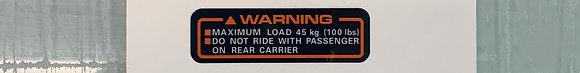 85-87 Big Red Rear Rack Warning