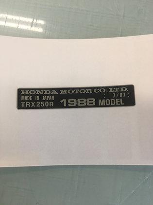 1989 TRX250R Year Frame Tag Chrome